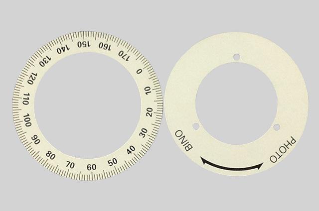 目盛板(アルミドーナツ型)アルマイト印刷